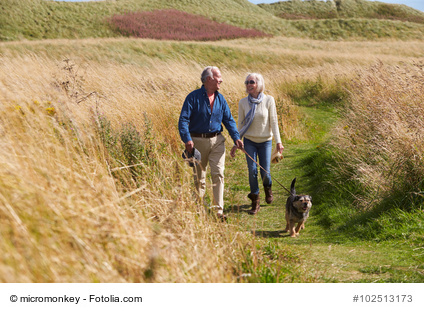 Senior Couple Taking Dog For Walk In Countryside